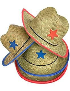 d7c1bd97 Amazon.com: Boys Kids Straw Cowboy Hat With Blue Star Sheriff Badge ...