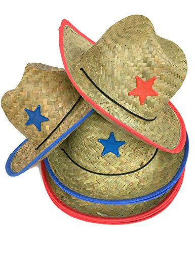 Playscene Children's Cowboy Hat with Sheriff Star (1 Dozen Pack) - Bulk (Blue & RED Badge - 12 Pack)