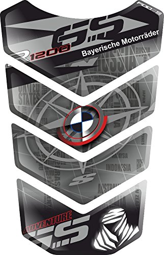 Motorcycle Gas Protector Sticker / 3D Rubber Fuel Tank Pad Tankpad Protector Decal for BMW R1200GS R 1200 R-1200-GS BMW-R1200GS GS Adventure ADV GS-Adv (Silver) Bmw Motorcycle Parts Accessories