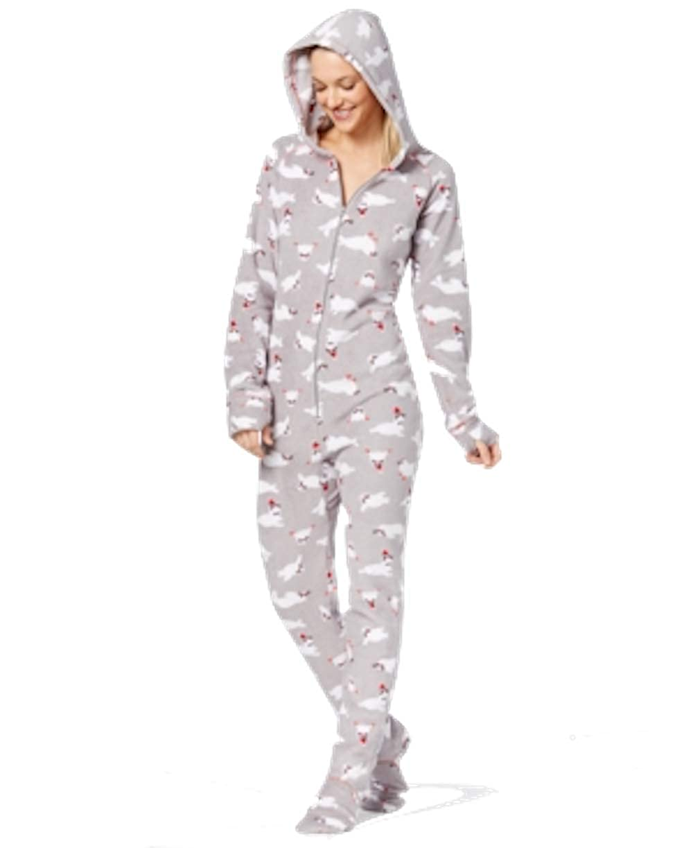 1d56c8d1f26 Amazon.com  Jenni by Jennifer Moore Hooded Footed Printed Pajama Jumpsuit  Women s  Clothing