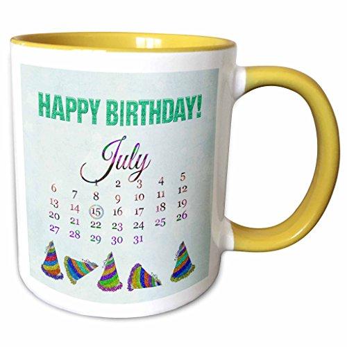 3dRose Beverly Turner Birthday Design - Birthday on July 15th, Glitter Look Happy Birthday and Colorful Hats - 15oz Two-Tone Yellow Mug (mug_181480_13)