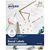 """Avery 2"""" Round Labels, Sure Feed, 60 Glossy White"""