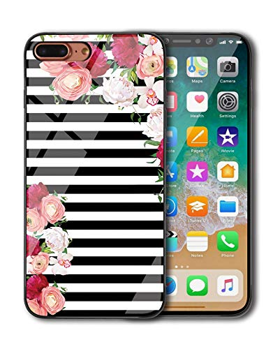 (KITATA iPhone 8 Plus Case, iPhone 7 Plus Case for Girls [Slim Fit], Black and White Stripes Flowers - Rose Floral Art Print Design for Women, Shockproof Impact Resistant Protective TPU Silicone)