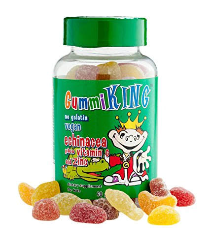 Cherry Zinc Vitamins - Gummi King Echinacea Plus Vitamin-C Zinc Supplement, Strawberry/Lemon/Orange/Grape/Cherry/Grapefruit, 60 Count