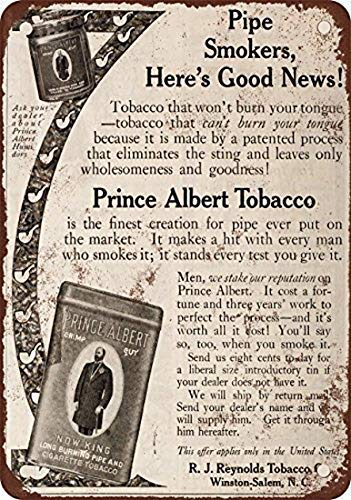 (Stevenca Metal Tin Sign 1910 Prince Albert Pipe and Cigarette Tobacco Vintage Look Reproduction Metal Aluminum Sign for Wall Decor 8x12 Inch)