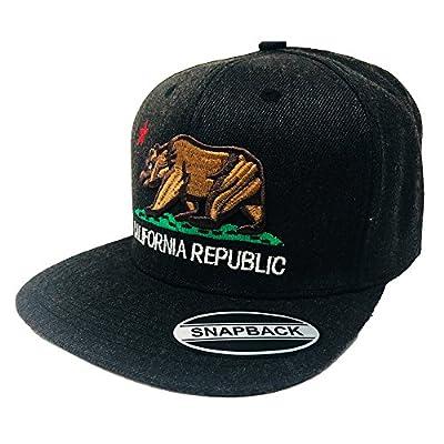 GREAT CAP California Baseball Hat - Classic Constructed Flat Bill Visor Size Adjustable Embroidered State Flag Republic Bear Snapback - Original