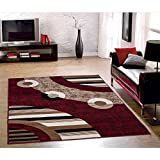 Sweet Home Stores Modern Circles Design Area Rug, 8'2 X 9'10, Red