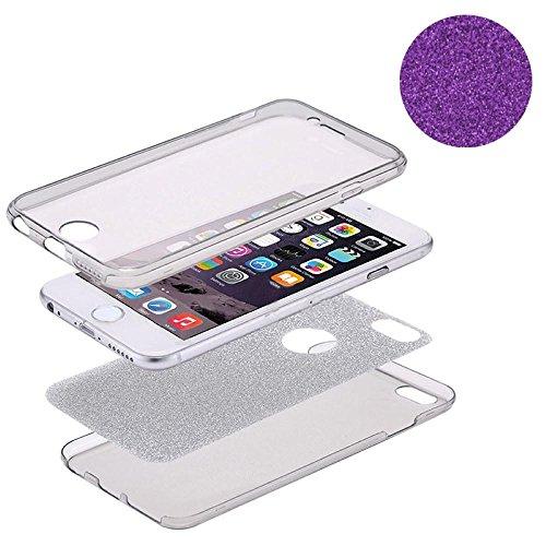 König-Shop Full TPU Case für Apple iPhone 7 Schutz Hülle Handy Glitzer Cover Violett