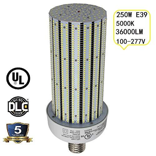 NGTlight 250W LED Corn Bulb 5000K Daylight (1000W Metal Halide Replacement), E39 Mogul Base Warehouse Highbay Gym Retrofit Light AC100-277V UL DLC Listed