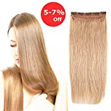 (US) 3/4 Full Head Clip in Human Hair Extension 18'' Strawberry Blonde #27 One Piece 5 Clips 100% Real Remy Hair Natural Color Soft Long Straight Hair 50g