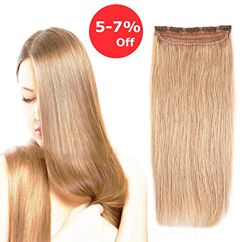 20''/50g Clip in Human Hair Extension One piece 5 Clips Strawberry Blonde #27 Long Staight Soft Remy Hair Weft Extension Fast Shipping