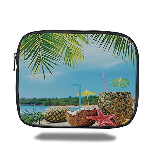 - iPrint iPad Bag,Tropical,Fresh Summer Fruits Coconut and Pineapple Drinks at Exotic Beach Palm Trees,Blue Green Brown,Bag