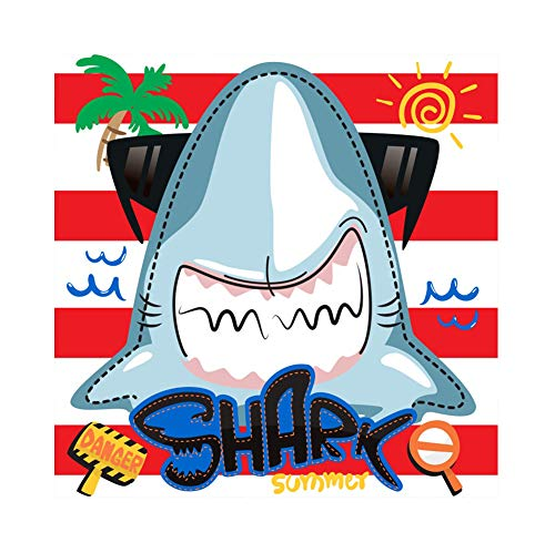 Baocicco 5x5ft Summer Party Backdrop Cartoon Sharks Danger Sign Waves Sunglasses Red and White Stripes Coconut Tree Photography Background Baby Shower Shark Party Kids Portrait Studio Prop