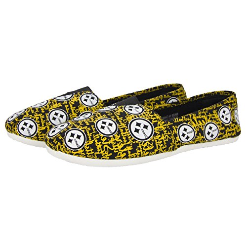 Pittsburgh Steelers Nfl Womens Script Print Canvas Shoes   Small