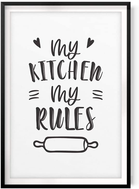 """My Kitchen My Rules 5"""" x 7"""" UNFRAMED Print Home Décor, Kitchen Quote Wall Art"""