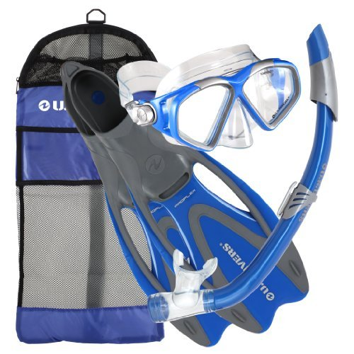 U.S. Divers Cozumel Snorkel Set - Adult Mask, Proflex Fins, Splash Guard Snorkel + Gear Bag, Blue, (Adult Snorkel Set)