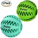 Pelay Dog Ball Toys for Pet Tooth Cleaning/Chewing/Playing,IQ Treat Ball Food Dispensing Toys of 2 Non-Toxic Soft Rubber Ball
