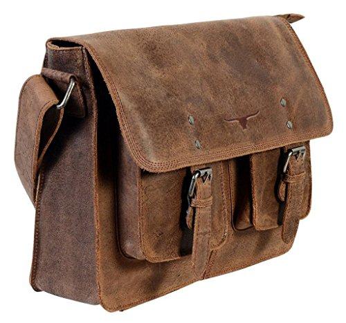 """Cntmp, 17"""" Leder, Handtaschen, Messenger Bag, Businesstaschen, Aktentaschen, Umhängetaschen, Crossover Taschen, , Natur-Leder"""