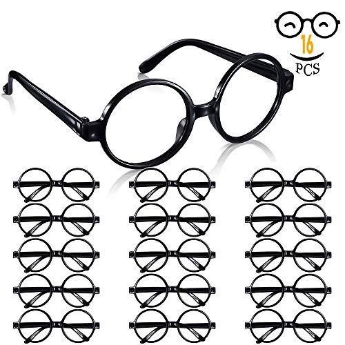 Harry Potter Wizard Glasses with Round Frame No Lenses for Kids Harry Potter, Halloween, St Patrick's Day Costume Party supplies Decorations, 16 Pack, -