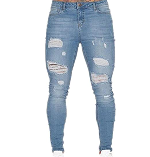 7c41e11dd085f Pantalon pour Homme, Trous Déchirés Extensible pour Homme Jeans Skinny Biker  Détruit Pantalon Slim Fit