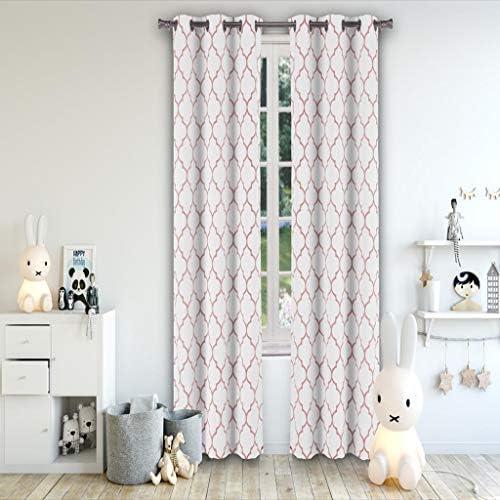 Lala Bash Mattyson Blackout Window Curtain, 37 x 84 Inches, Pretty Pink