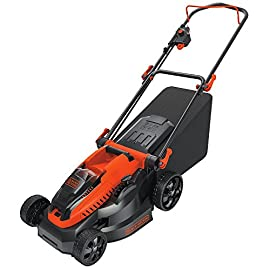 "BLACK+DECKER 40V MAX Cordless Lawn Mower, 16-Inch (CM1640) 1 Height Adjust- 6 settings, with a height of cut between 1-1/10"" and 3-1/10"" Includes (2) 40V Max Lithium Batteries Folding handles for easy & convenient storage"