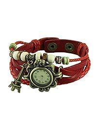 Women Vintage Quartz Weave Wrap Around PU Leather Bracelet Watch with Tower Pendant Charm (Red)