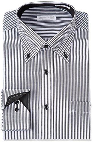 ヒゲ独創的腹部DRESS CODE 101 【スリム】 ボタンダウン ドレスシャツ 襟高デザイン 長袖ワイシャツ 白 メンズ 長袖 ワイシャツ Yシャツ