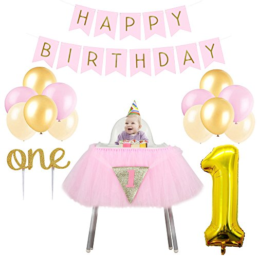 (1st Birthday Party Decorations for Girls. Includes High Chair Tutu, Happy Birthday Banner, Pink, Gold and Ivory Balloons, Gold Foil 1 Balloon, First Birthday Gold Sparkle One Cake)