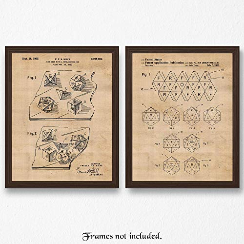 Dragon Art Poster - Original Dungeons and Dragons Dice Patent Poster Prints- Set of 2 (Two 11x14) Unframed Pictures- Great Wall Art Decor Gifts Under $15 for Home, Office, Garage, Man Cave, Teacher, D&D Fan-Blogger