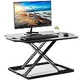 EleTab Standing Desk Converter Sit to Stand up Desk Riser Ultra Slim Desktop Elevating Workstation 32'' (Black)