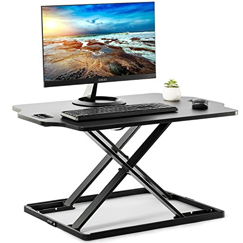 EleTab Standing Desk Converter Sit to Stand up Desk Riser Ultra Slim Desktop Elevating Workstation 32″ (Black)
