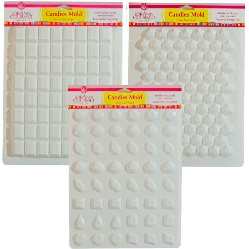 Lorann Hard Candy Making Mold Gems Set - Includes Jewels, Break Apart Hexagon, and Break-apart Rectangle