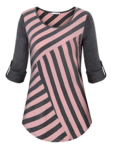 Asymmetrical Sleeve (Messic Half Sleeve Tops For Women, Ladies Asymmetrical Stripe Loose Soft Stretchy Knitted Blouses (Medium,PinkGrey))