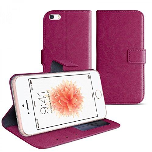 eFabrik Schutz Cover für Apple iPhone SE 5 5S Schutzhülle lila Hülle Handy Schutztasche Tasche Bookstyle Design Case Smartphone-Zubehör