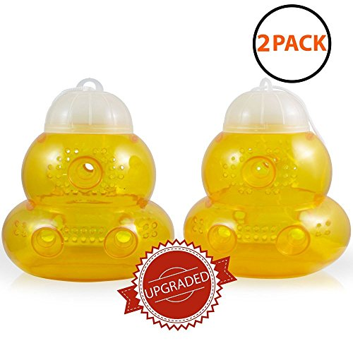 Aspectek Trap for Bees, Wasps, Hornets, Yellow Jackets, Cover 5000sq ft, Reusable (Pack of 2) - Bees And Wasp Stings