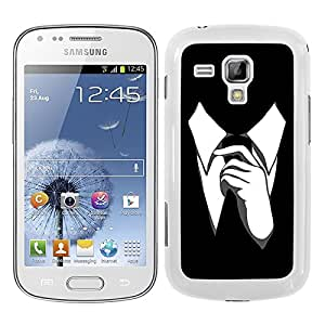 Funda carcasa para Samsung Galaxy Trend Plus diseño corbata fondo negro borde blanco