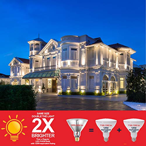 Explux 250W Equivalent LED PAR38 Flood Light Bulbs, 2600 Lumens, 3000K 2-Pack, Outdoor Full-Glass Weatherproof, Dimmable, Bright White