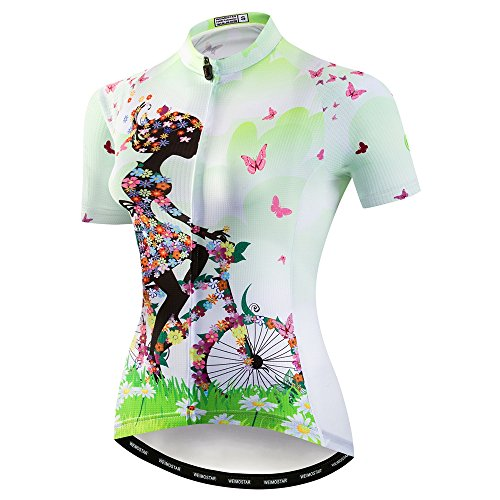 "Women Cycling Jersey Short Sleeve Tops Breathable Biking Shirt White Green, Tag Xxl(For Your Chest 41-44"")"