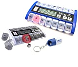 New MedQ Daily Pill Box Reminder with Flashing Light and Beeping Alarm includes Bonus Liberty Pill Keychain (White and Blue Bundle)
