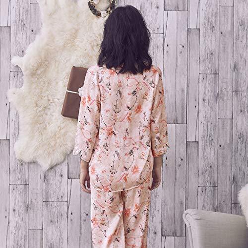 Pijamas Sweet Stripe algodón Sexy señoras Manga Larga cómodos algodón HUXIUPING (Color : Blanco, Tamaño : L): Amazon.es: Hogar
