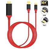 USB Type C to HDMI, KMISS USB 3.1 Type-C to HDMI 4K Converter with Power Charger Cord for 2017/2016 MacBook Pro, iMac, Galaxy s9, Note 8, S8, ChromeBook Pixel with High-speed charge (Red)