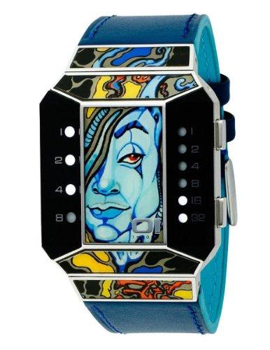 01TheOne Unisex SC116W1 Split Screen Art Edition White LED Blue Leather Watch