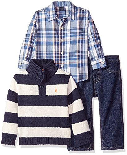 Nautica Baby Three Piece Set with Woven, Quarter Button Sweater, Denim Jean, Sport Navy, 12 Months