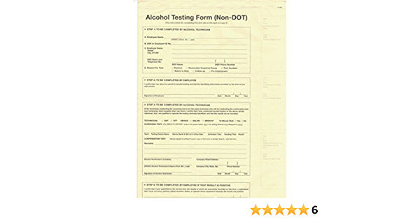 Packs of 100MADE in USA 5 Non-DOT 3-PLY Breath Alcohol Testing Forms