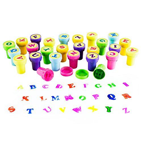 Mini Letters (Assorted Mini Colorful Rubber Alphabet Letter Stamps for Children, Party Favor Gifts, Arts & Crafts Projects (26 Pieces) by Super Z)