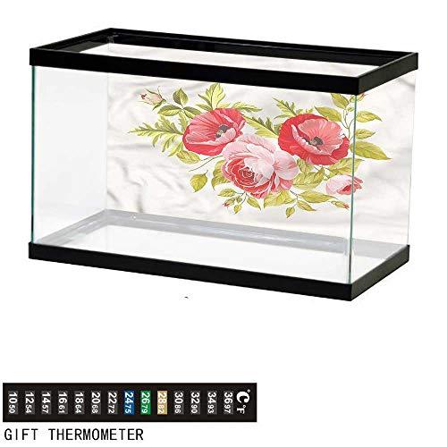(bybyhome Fish Tank Backdrop Floral,Romantic Feminine Rose Buds,Aquarium Background,48