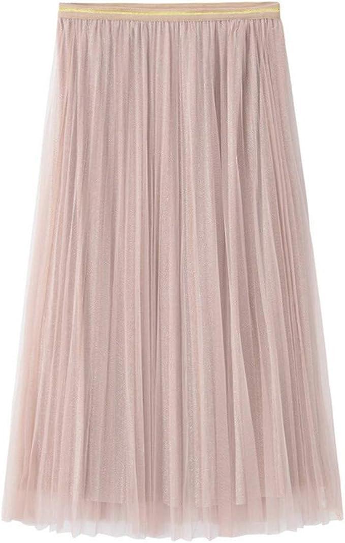 Vectry Falda Mujer Princesa Tulle Color Sólido Falda Larga Plisada ...