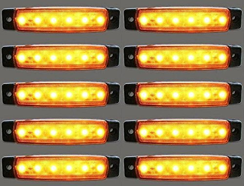 10 x Luci di posizione laterali, a LED, luce ambrata arancione, 12 V, universali per rimorchio, camion, caravan, camper, trattore, bus MHY