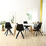 YURUCY Office Dining Chairs Black Furniture Gaming Party Chair Set of 4 Side Wood Assembled Legs For Office Kitchen Living Room Bedroom Eames style (Black)